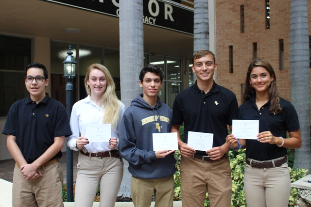 Bishop Verot High School Announces Four Nationally Commended Students and Three National Hispanic Recognition Program Award Recipients