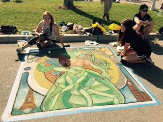 Bishop Verot artists at Artfest's Chalk Block